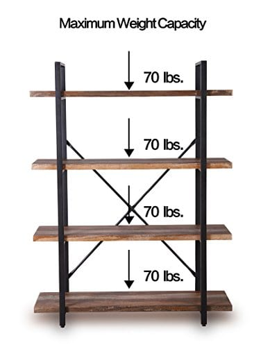 Homissue 4 Tier Industrial Style Bookshelf Wood And Metal Bookcases Furniture For Collection Retro Brown 0 5