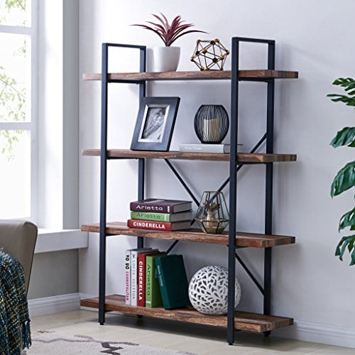 Homissue 4 Tier Industrial Style Bookshelf Wood And Metal Bookcases Furniture For Collection Retro Brown 0
