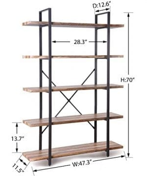 Homissue 5 Tier Bookcase Vintage Industrial Wood And Metal Bookshelves For Home And Office Organizer Retro Brown 0 1 300x360