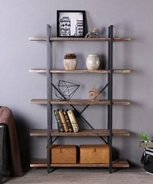 Homissue 5 Tier Bookcase Vintage Industrial Wood And Metal Bookshelves For Home And Office Organizer Retro Brown 0 3 300x360