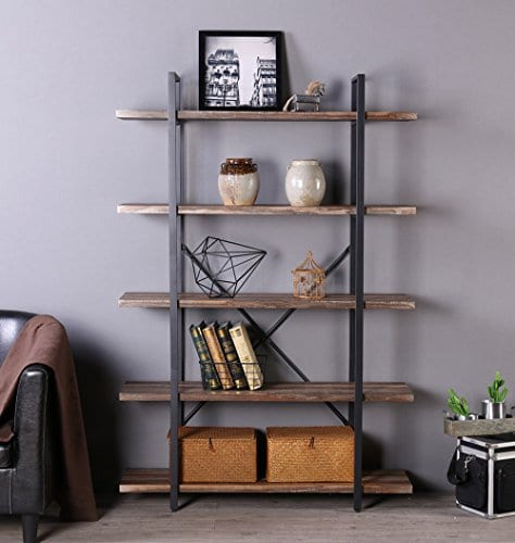 Homissue 5 Tier Bookcase Vintage Industrial Wood And Metal Bookshelves For Home And Office Organizer Retro Brown 0 3