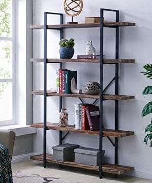 Homissue 5 Tier Bookcase Vintage Industrial Wood And Metal Bookshelves For Home And Office Organizer Retro Brown 0 300x360