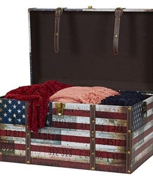Household Essentials 9203 1 Jumbo Decorative Home Storage Trunk Luggage Style Americana Design 0 0 300x360