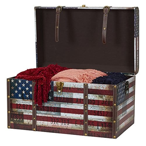 Household Essentials 9203 1 Jumbo Decorative Home Storage Trunk Luggage Style Americana Design 0 0