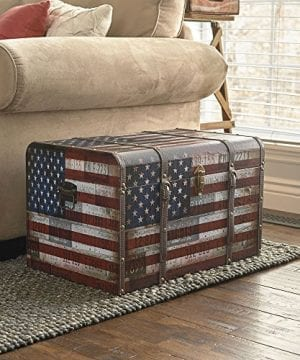 Household Essentials 9203 1 Jumbo Decorative Home Storage Trunk Luggage Style Americana Design 0 1 300x360