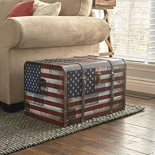 Household Essentials 9203 1 Jumbo Decorative Home Storage Trunk Luggage Style Americana Design 0 1