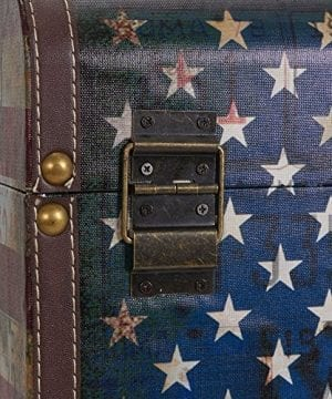 Household Essentials 9203 1 Jumbo Decorative Home Storage Trunk Luggage Style Americana Design 0 3 300x360