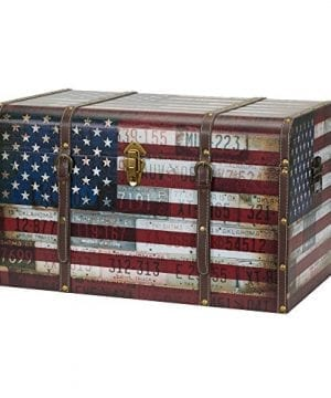 Household Essentials 9203 1 Jumbo Decorative Home Storage Trunk Luggage Style Americana Design 0 300x360