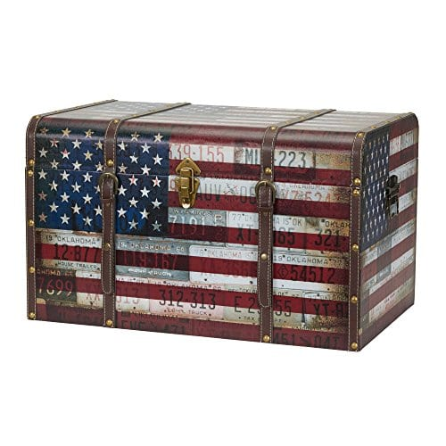 Household Essentials 9203 1 Jumbo Decorative Home Storage Trunk Luggage Style Americana Design 0