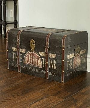 Household Essentials 9243 1 Large Vintage Decorative Home Storage Trunk Luggage Style 0 0 300x360