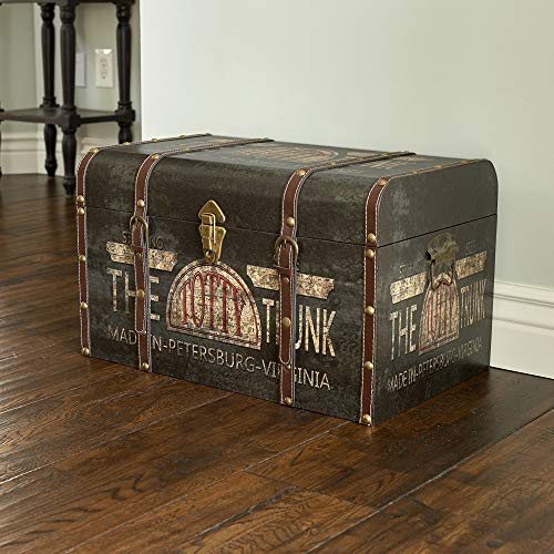 Household Essentials 9243 1 Large Vintage Decorative Home Storage Trunk Luggage Style 0 0