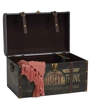 Household Essentials 9243 1 Large Vintage Decorative Home Storage Trunk Luggage Style 0 2 300x360