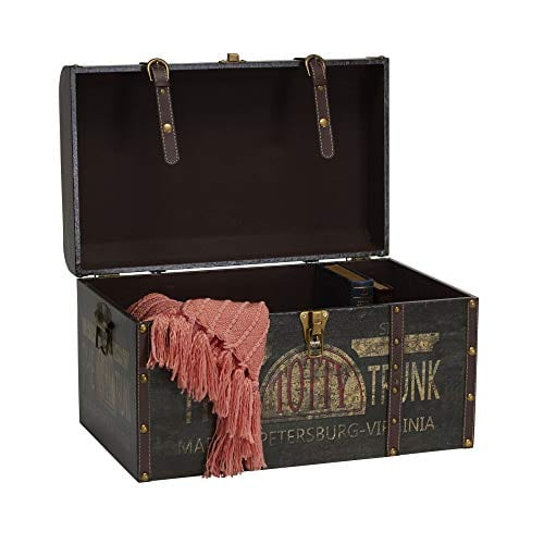 Household Essentials 9243 1 Large Vintage Decorative Home Storage Trunk Luggage Style 0 2