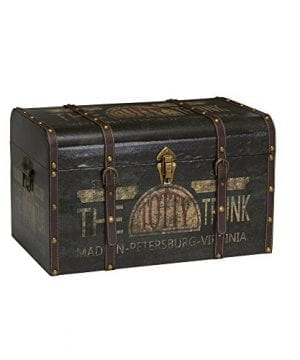 Household Essentials 9243 1 Large Vintage Decorative Home Storage Trunk Luggage Style 0 300x360