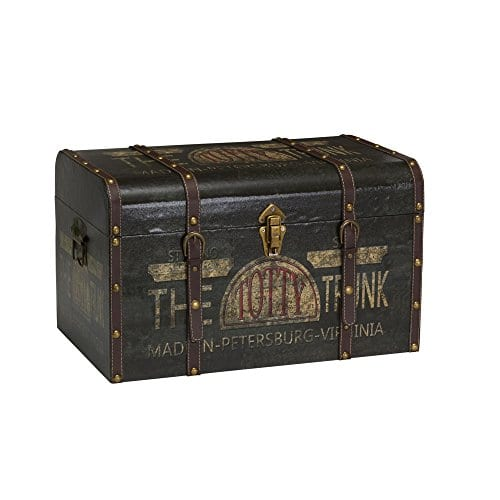 Household Essentials 9243 1 Large Vintage Decorative Home Storage Trunk Luggage Style 0