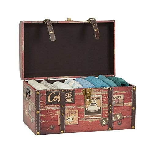 Household Essentials 9245 1 Medium Decorative Home Storage Trunk Luggage Style Coffee Shop Design 0 0