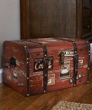 Household Essentials 9245 1 Medium Decorative Home Storage Trunk Luggage Style Coffee Shop Design 0 1 300x360