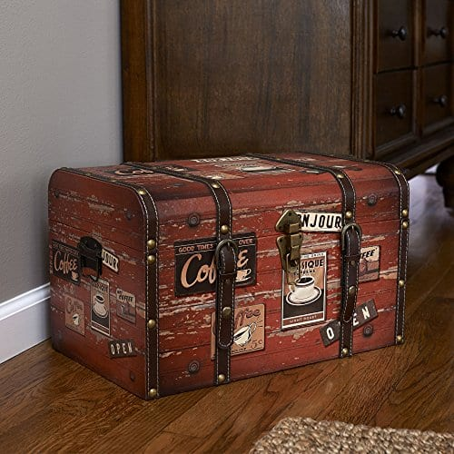 Household Essentials 9245 1 Medium Decorative Home Storage Trunk Luggage Style Coffee Shop Design 0 1