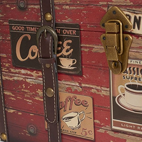 Household Essentials 9245 1 Medium Decorative Home Storage Trunk Luggage Style Coffee Shop Design 0 2