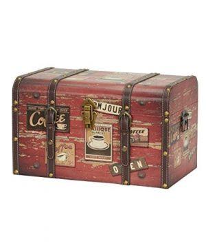 Household Essentials 9245 1 Medium Decorative Home Storage Trunk Luggage Style Coffee Shop Design 0 300x360