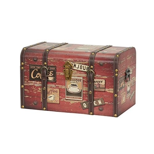 Household Essentials 9245 1 Medium Decorative Home Storage Trunk Luggage Style Coffee Shop Design 0