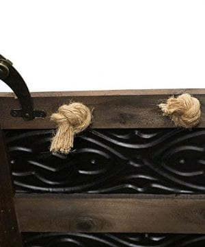 Household Essentials Decorative Metal Banded Wooden Storage Trunk With Handles Large 0 1 300x360