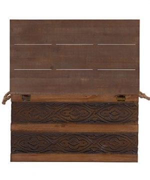 Household Essentials Decorative Metal Banded Wooden Storage Trunk With Handles Large 0 4 300x360