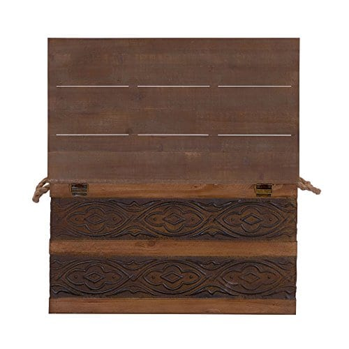 Household Essentials Decorative Metal Banded Wooden Storage Trunk With Handles Large 0 4