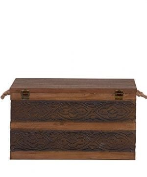 Household Essentials Decorative Metal Banded Wooden Storage Trunk With Handles Large 0 5 300x360