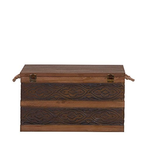 Household Essentials Decorative Metal Banded Wooden Storage Trunk With Handles Large 0 5