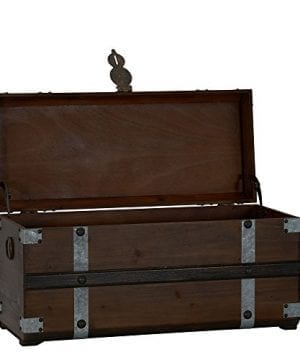 Household Essentials Steel Band Wood Storage Trunk Large Chest Brown 0 0 300x360