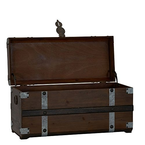 Household Essentials Steel Band Wood Storage Trunk Large Chest Brown 0 0