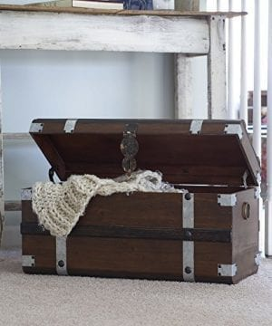 Household Essentials Steel Band Wood Storage Trunk Large Chest Brown 0 3 300x360