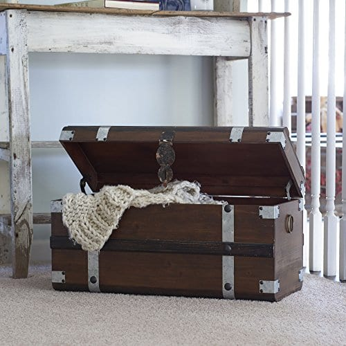 Household Essentials Steel Band Wood Storage Trunk Large Chest Brown 0 3