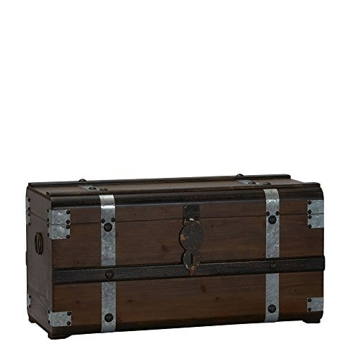Household Essentials Steel Band Wood Storage Trunk Large Chest Brown 0