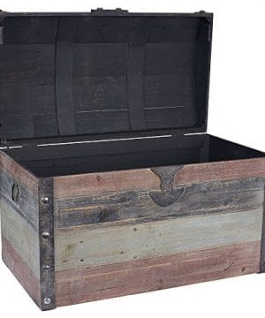 Household Essentials Stripped Weathered Wooden Storage Trunk Large 0 0 300x360