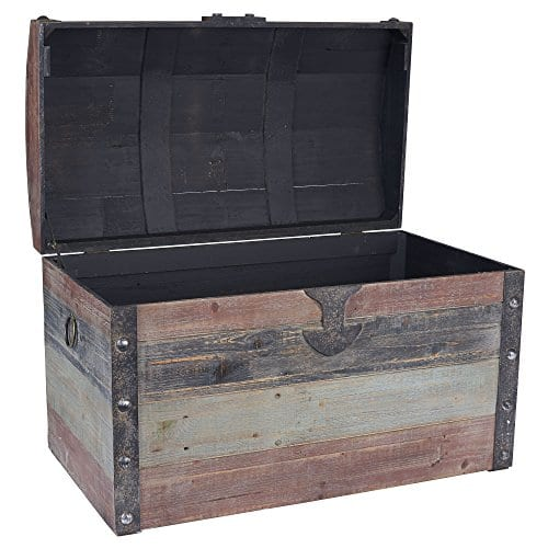 Household Essentials Stripped Weathered Wooden Storage Trunk Large 0 0
