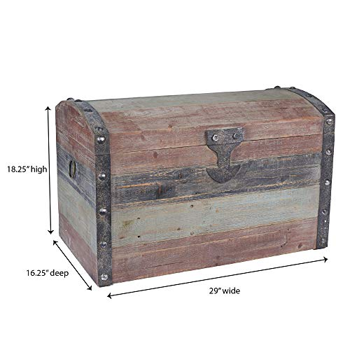 Household Essentials Stripped Weathered Wooden Storage Trunk Large 0 2