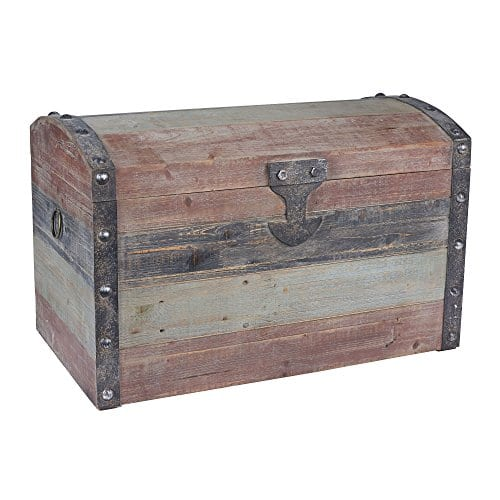 Household Essentials Stripped Weathered Wooden Storage Trunk Large 0