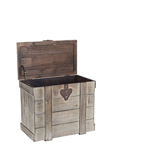 Household Essentials White Washed Rustic Decorative Wooden Trunk Small 0 0
