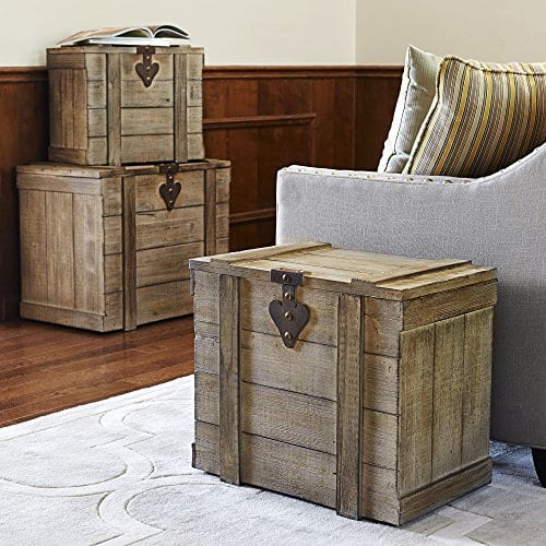Household Essentials White Washed Rustic Decorative Wooden Trunk Small 0 1