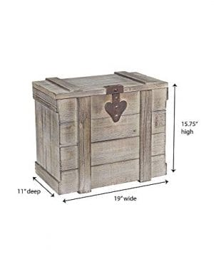 Household Essentials White Washed Rustic Decorative Wooden Trunk Small 0 2 300x360