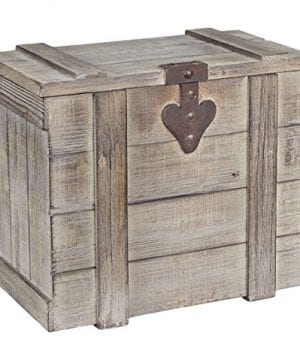Household Essentials White Washed Rustic Decorative Wooden Trunk Small 0 300x360