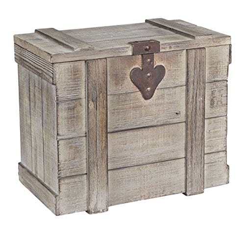 Household Essentials White Washed Rustic Decorative Wooden Trunk Small 0