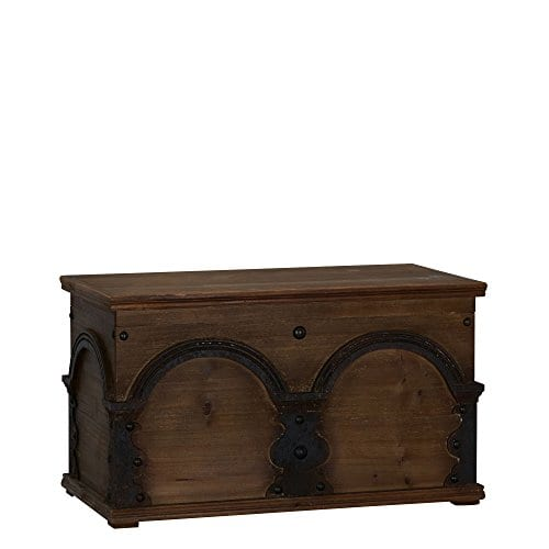 Household Essentials Wooden Arch Trunk Storage Chest Large Brown 0