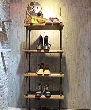 KALER Retro Industrial Pipe Display Rack Free Standing ShoeBag Store Display Rack Shelf 5 Tiers Wooden Plank Rack 0 300x360