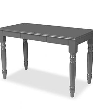 Kate And Laurel Turin Wood Writing Table And Computer Desk With Drawer And Farmhouse Legs With Satin Gray 0 300x360