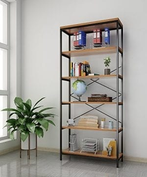 Kemanner 5 Tier Industrial Style Bookcase Vintage Free Standing Bookshelf Rustic Wood Bookcases Furniture Brown 1 0 300x360