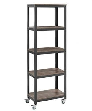 Modway EEI 2854 GRY WAL SET Vivify Industrial Modern Bookcase With Locking Casters Gray Walnut 0 300x360