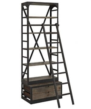 Modway Velocity Industrial Modern Wood And Cast Iron Bookshelf In Brown 0 0 300x360